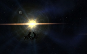 The EVE Gate pulsates slowly behind the lone stargate in the system.