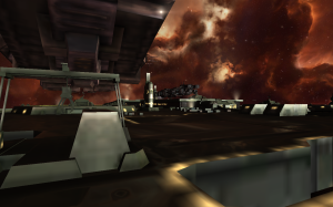 A close view of the cargo pads at the community area, with a cargo ship in the background.